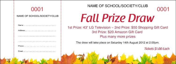 Autumn Raffle Tickets - Autumn Prize Draw Tickets from the UK's best value Raffle Ticket Printers
