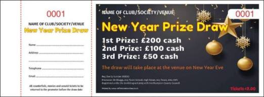 New Year Raffle Tickets - Draw Ticket Printers - Raffle Ticket Printer